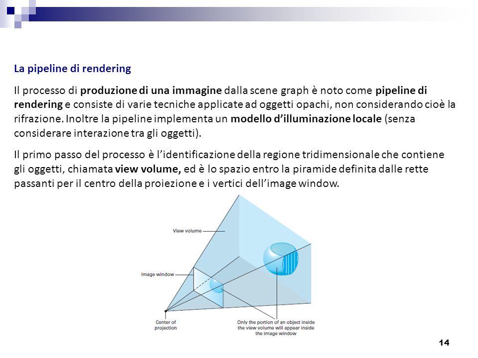 14 La pipeline di rendering Il processo di produzione di una immagine dalla scene graph è noto come pipeline di rendering e consiste di varie tecniche