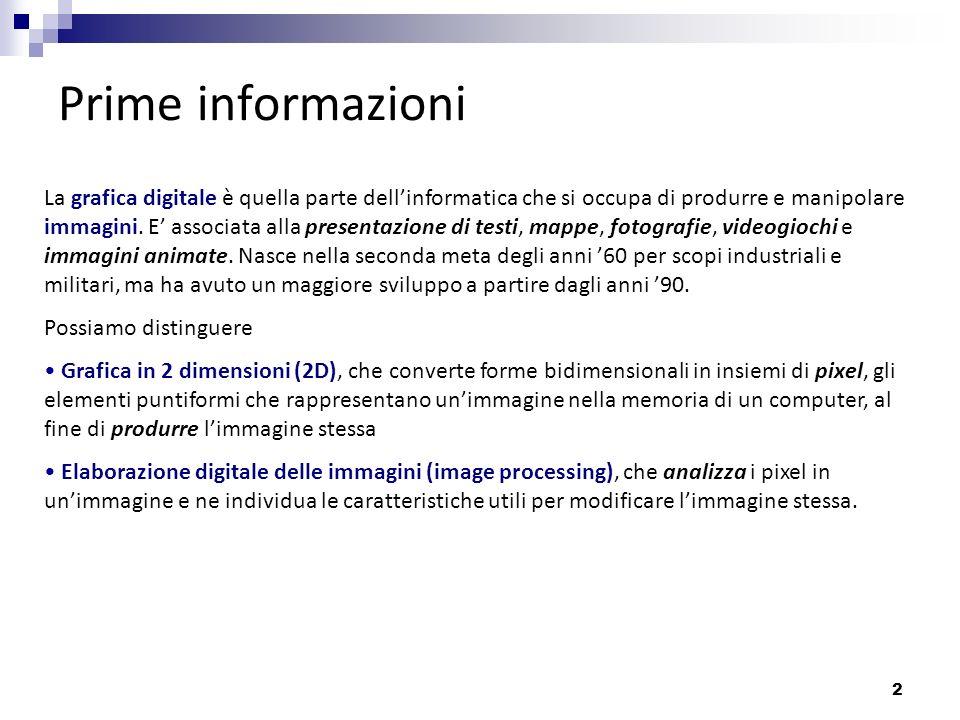 2 Prime informazioni La grafica digitale è quella parte dellinformatica che si occupa di produrre e manipolare immagini. E associata alla presentazion
