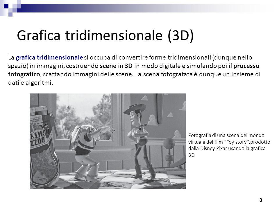3 Grafica tridimensionale (3D) La grafica tridimensionale si occupa di convertire forme tridimensionali (dunque nello spazio) in immagini, costruendo