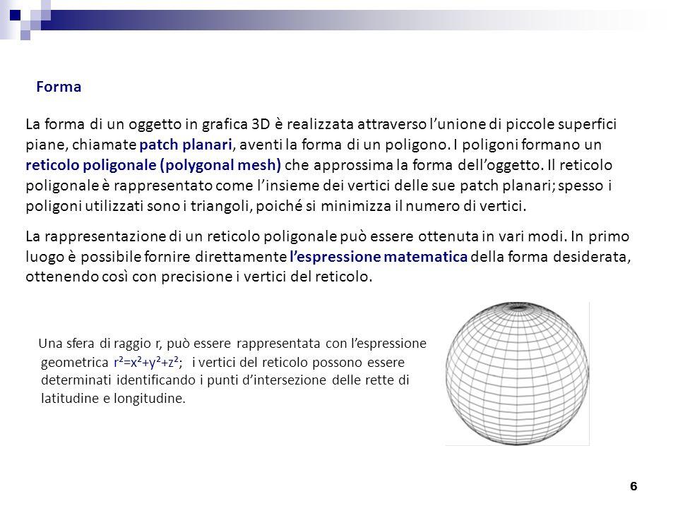 7 Un metodo più sofisticato per ottenere un reticolo poligonale è basato sulluso delle curve di Bezier.