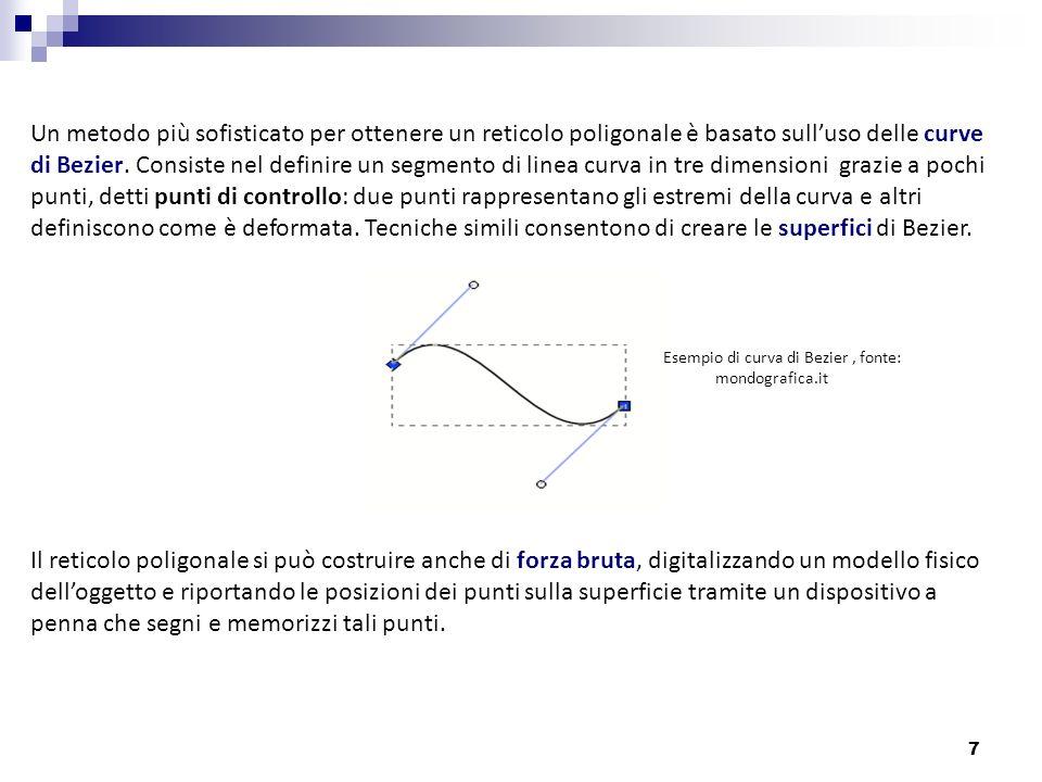 7 Un metodo più sofisticato per ottenere un reticolo poligonale è basato sulluso delle curve di Bezier. Consiste nel definire un segmento di linea cur
