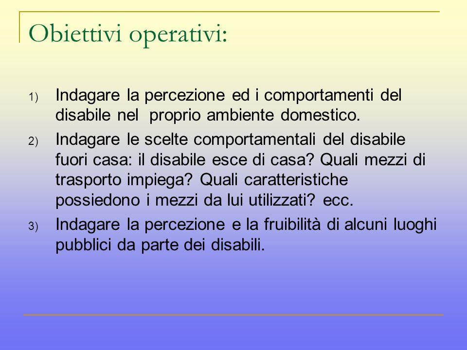 Obiettivi operativi: 1) Indagare la percezione ed i comportamenti del disabile nel proprio ambiente domestico.