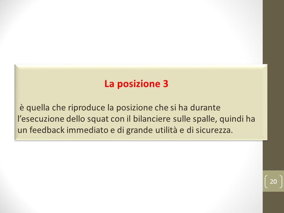 20 La posizione 3 è quella che riproduce la posizione che si ha durante lesecuzione dello squat con il bilanciere sulle spalle, quindi ha un feedback