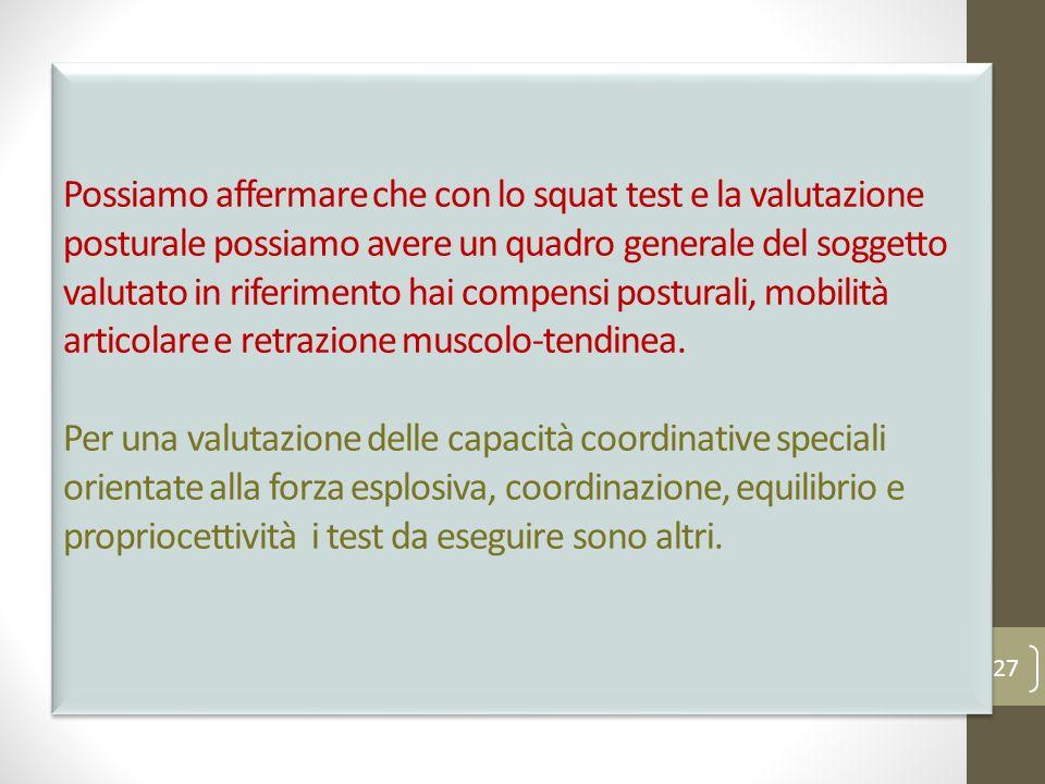 27 Possiamo affermare che con lo squat test e la valutazione posturale possiamo avere un quadro generale del soggetto valutato in riferimento hai comp