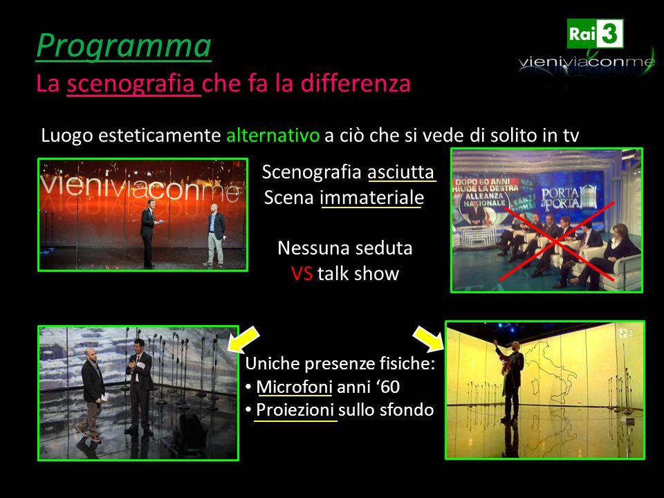 Programma La scenografia che fa la differenza Luogo esteticamente alternativo a ciò che si vede di solito in tv Scenografia asciutta Scena immateriale