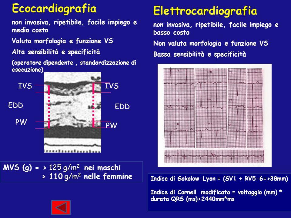 Ecocardiografia non invasiva, ripetibile, facile impiego e medio costo Valuta morfologia e funzione VS Alta sensibilità e specificità ( operatore dipe
