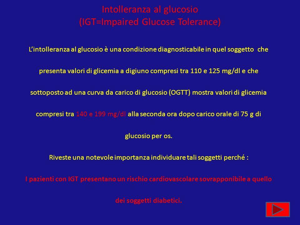 Intolleranza al glucosio (IGT=Impaired Glucose Tolerance) Lintolleranza al glucosio è una condizione diagnosticabile in quel soggetto che presenta val