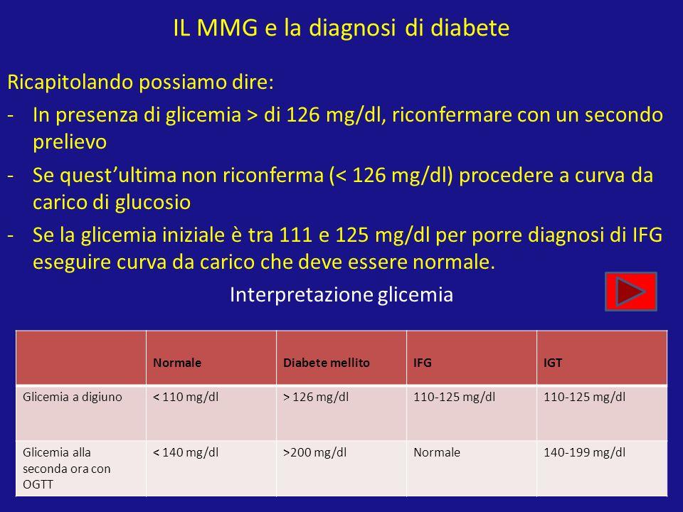 IL MMG e la diagnosi di diabete Ricapitolando possiamo dire: -In presenza di glicemia > di 126 mg/dl, riconfermare con un secondo prelievo -Se questul