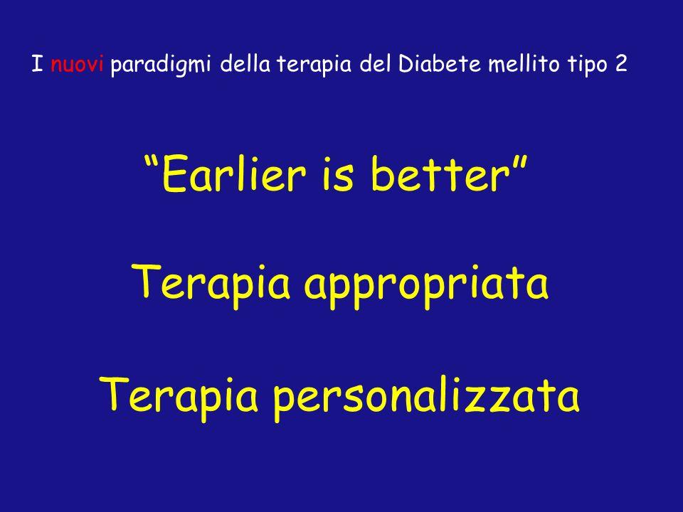 Terapia personalizzata Terapia appropriata Earlier is better I nuovi paradigmi della terapia del Diabete mellito tipo 2
