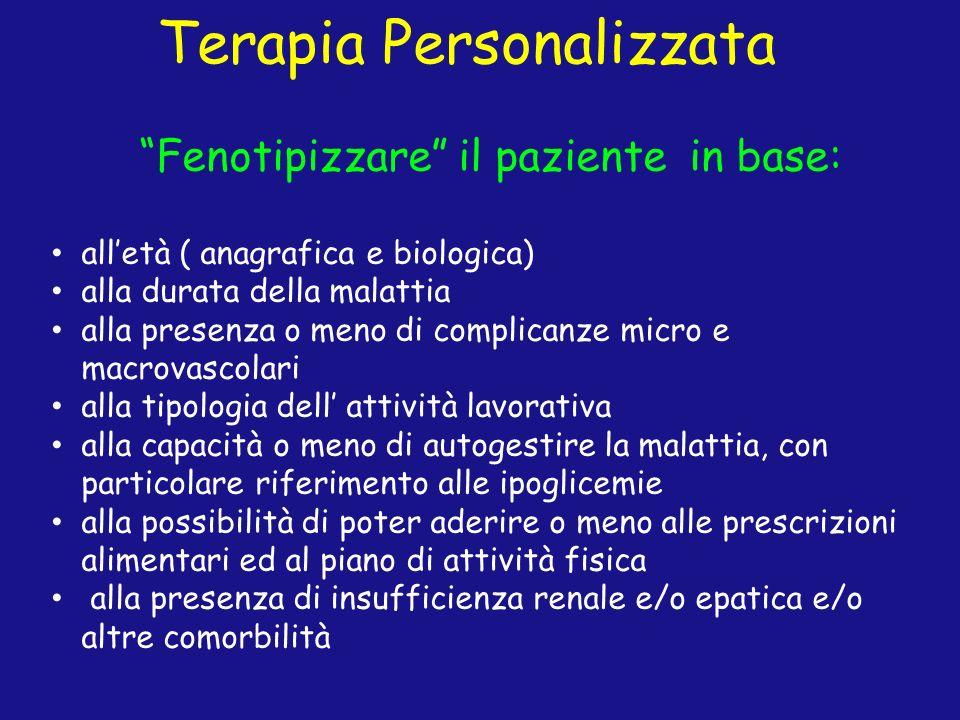 Terapia Personalizzata Fenotipizzare il paziente in base: alletà ( anagrafica e biologica) alla durata della malattia alla presenza o meno di complica