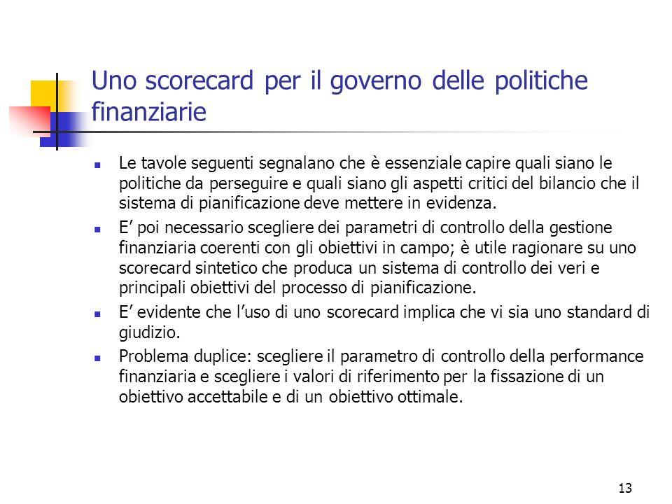 13 Uno scorecard per il governo delle politiche finanziarie Le tavole seguenti segnalano che è essenziale capire quali siano le politiche da perseguir