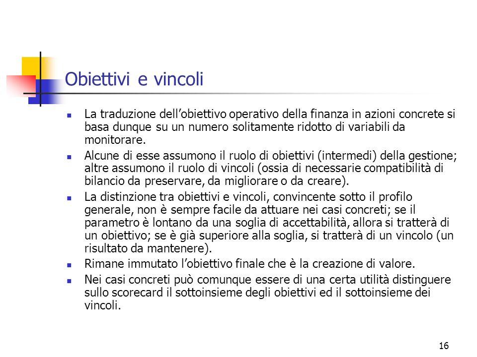 16 Obiettivi e vincoli La traduzione dellobiettivo operativo della finanza in azioni concrete si basa dunque su un numero solitamente ridotto di varia
