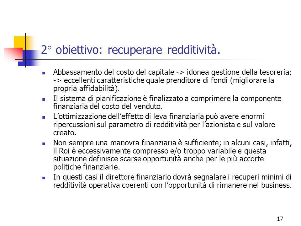 17 2° obiettivo: recuperare redditività. Abbassamento del costo del capitale -> idonea gestione della tesoreria; -> eccellenti caratteristiche quale p