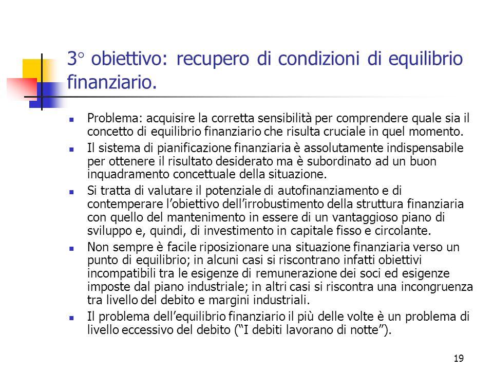 19 3° obiettivo: recupero di condizioni di equilibrio finanziario. Problema: acquisire la corretta sensibilità per comprendere quale sia il concetto d