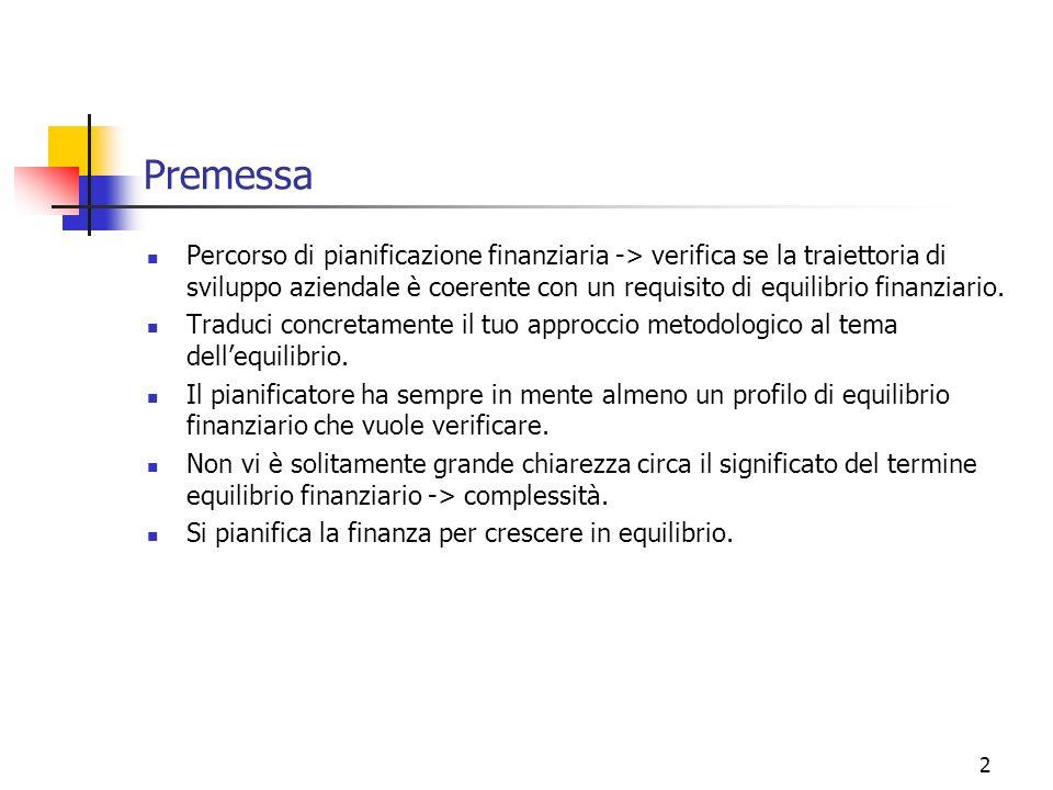 2 Premessa Percorso di pianificazione finanziaria -> verifica se la traiettoria di sviluppo aziendale è coerente con un requisito di equilibrio finanz