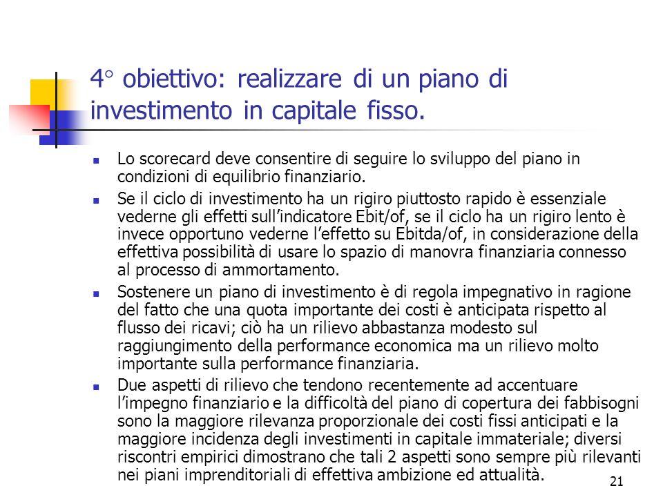 21 4° obiettivo: realizzare di un piano di investimento in capitale fisso. Lo scorecard deve consentire di seguire lo sviluppo del piano in condizioni
