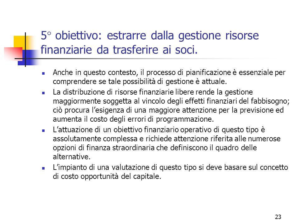 23 5° obiettivo: estrarre dalla gestione risorse finanziarie da trasferire ai soci. Anche in questo contesto, il processo di pianificazione è essenzia