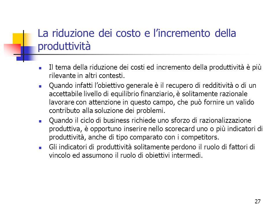 27 La riduzione dei costo e lincremento della produttività Il tema della riduzione dei costi ed incremento della produttività è più rilevante in altri
