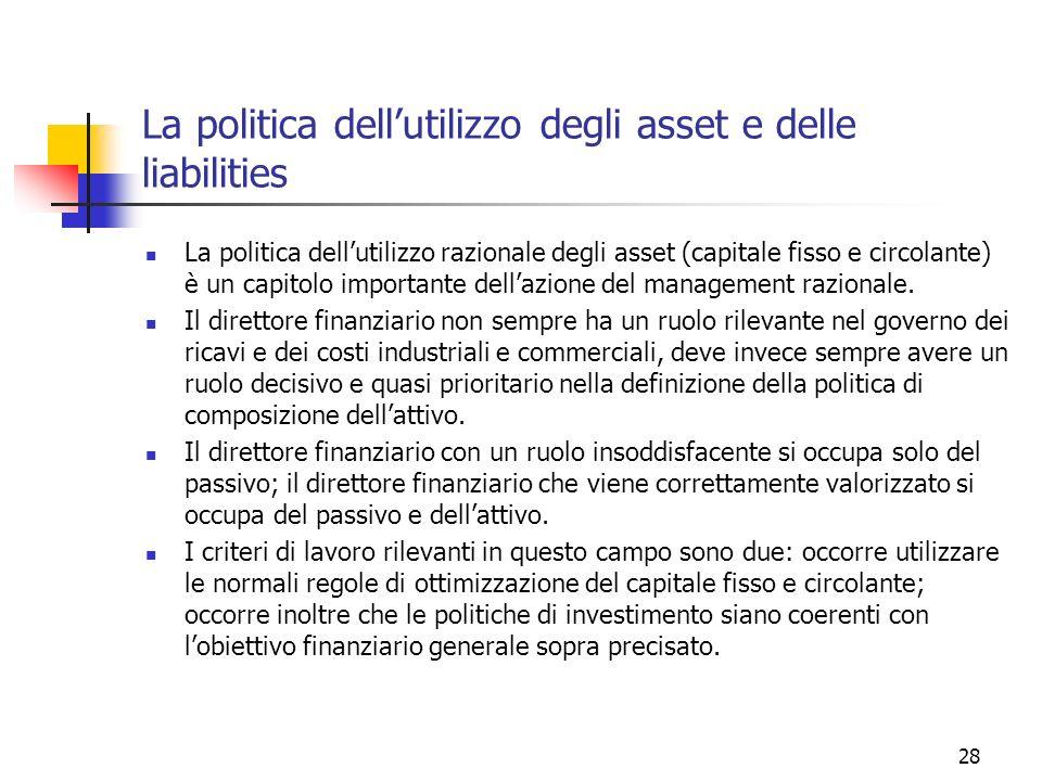 28 La politica dellutilizzo degli asset e delle liabilities La politica dellutilizzo razionale degli asset (capitale fisso e circolante) è un capitolo