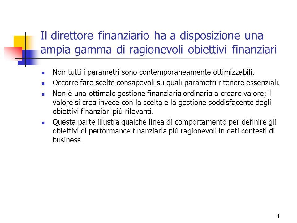 4 Il direttore finanziario ha a disposizione una ampia gamma di ragionevoli obiettivi finanziari Non tutti i parametri sono contemporaneamente ottimiz