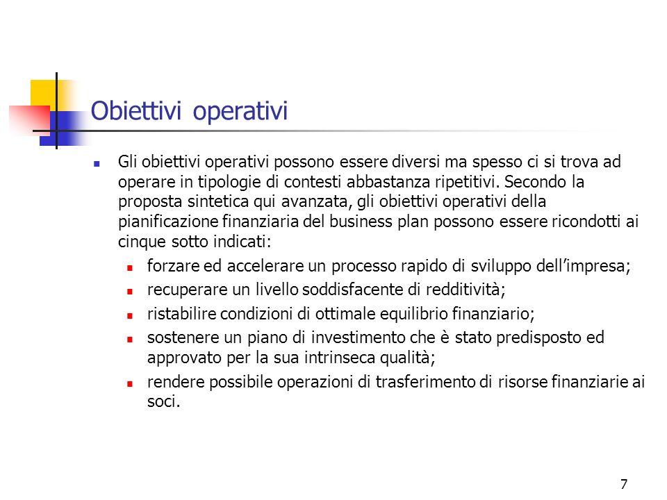 8 Lorientamento per obiettivi del piano di business In pratica, quando si redige il piano industriale di una impresa si persegue, sotto il profilo della finanza, quasi sempre uno dei suddetti cinque obiettivi operativi.