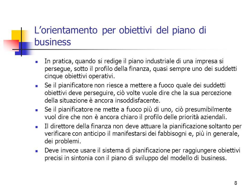 8 Lorientamento per obiettivi del piano di business In pratica, quando si redige il piano industriale di una impresa si persegue, sotto il profilo del