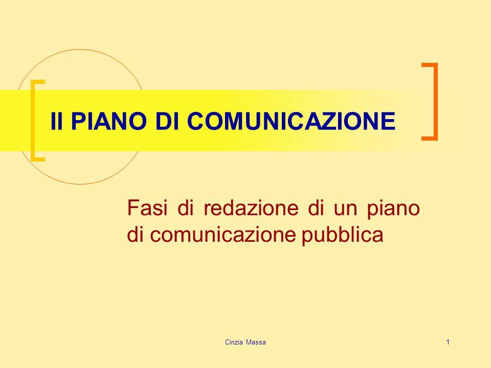 Cinzia Massa1 Il PIANO DI COMUNICAZIONE Fasi di redazione di un piano di comunicazione pubblica