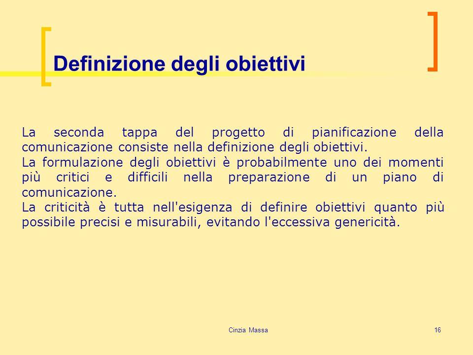 Cinzia Massa16 Definizione degli obiettivi La seconda tappa del progetto di pianificazione della comunicazione consiste nella definizione degli obiett