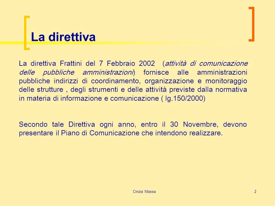 Cinzia Massa2 La direttiva La direttiva Frattini del 7 Febbraio 2002 (attività di comunicazione delle pubbliche amministrazioni) fornisce alle amminis