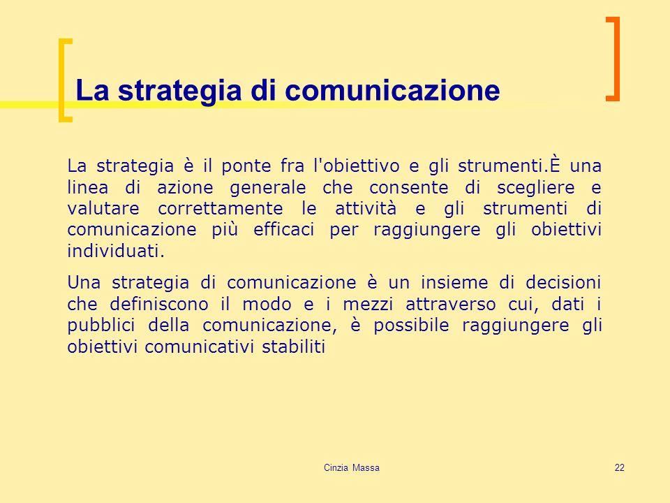 Cinzia Massa22 La strategia di comunicazione La strategia è il ponte fra l'obiettivo e gli strumenti.È una linea di azione generale che consente di sc