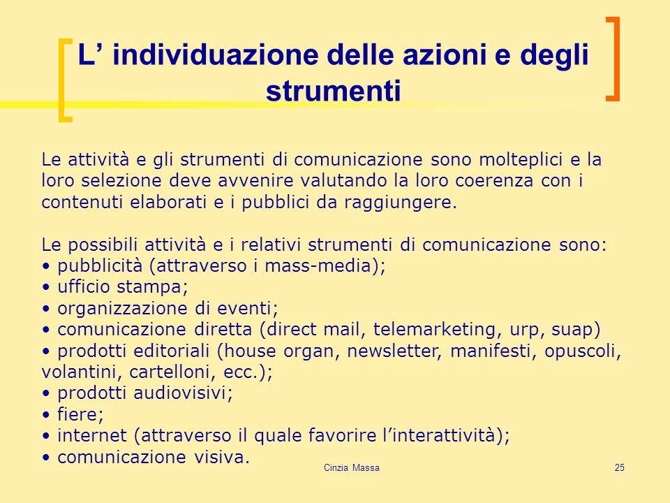 Cinzia Massa25 L individuazione delle azioni e degli strumenti Le attività e gli strumenti di comunicazione sono molteplici e la loro selezione deve a