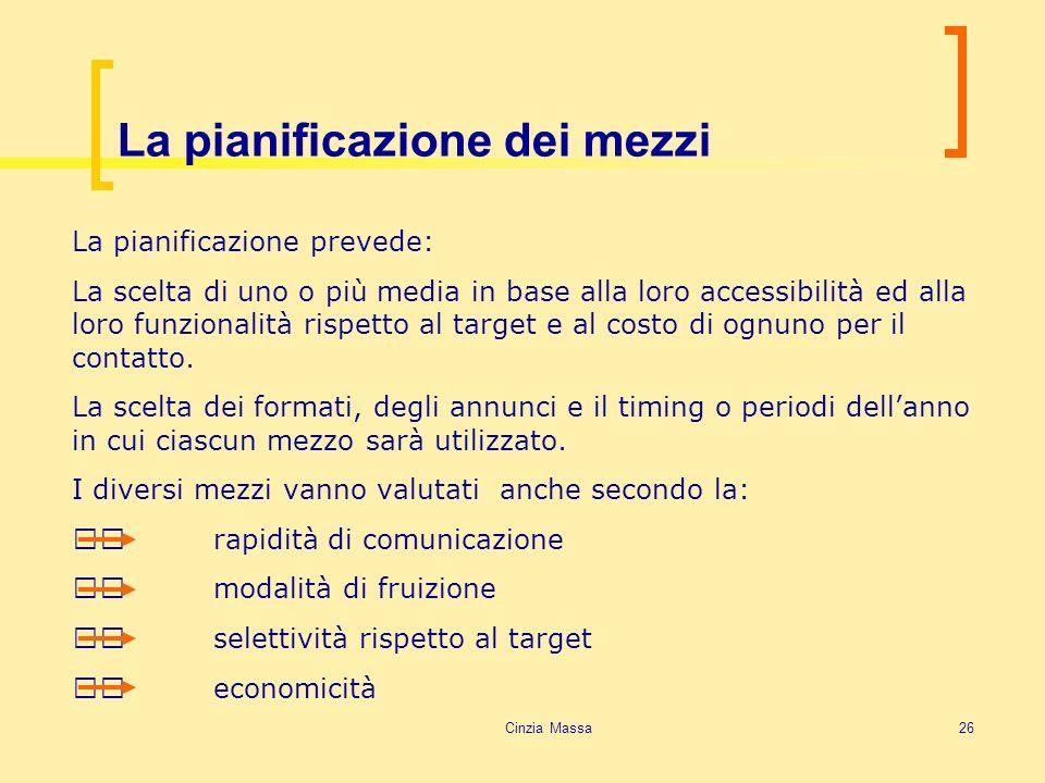 Cinzia Massa26 La pianificazione dei mezzi La pianificazione prevede: La scelta di uno o più media in base alla loro accessibilità ed alla loro funzio