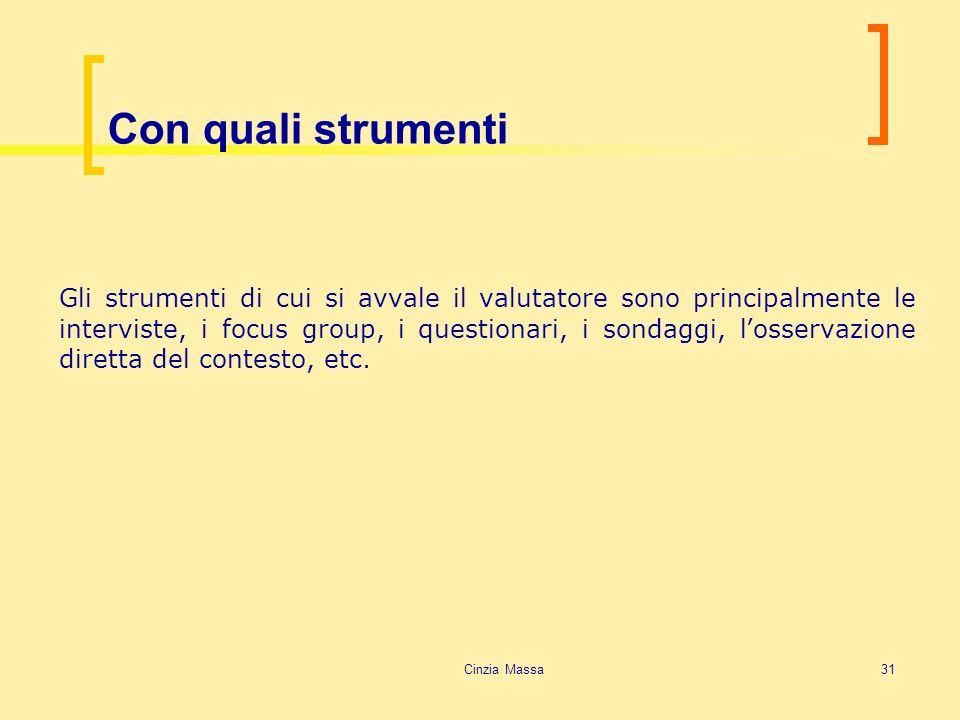 Cinzia Massa31 Con quali strumenti Gli strumenti di cui si avvale il valutatore sono principalmente le interviste, i focus group, i questionari, i son