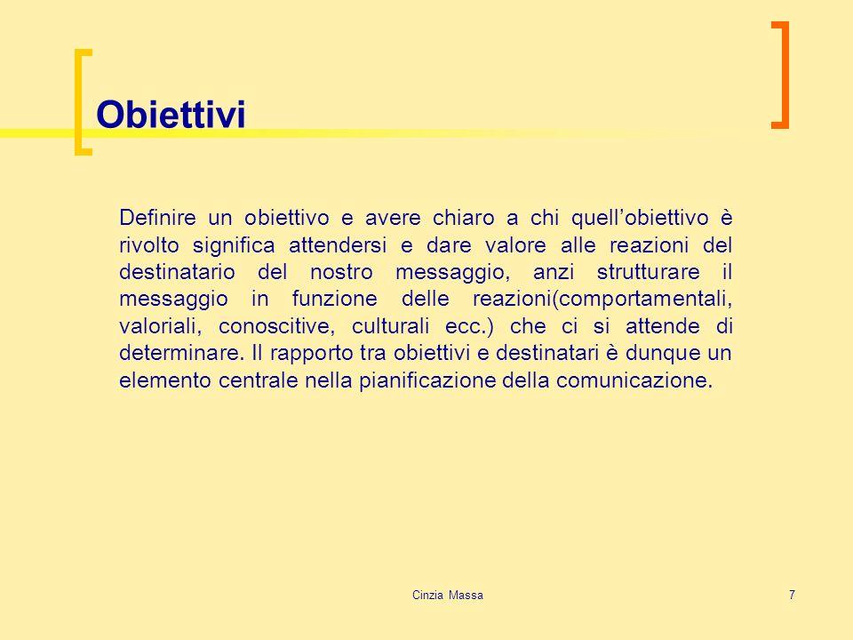 Cinzia Massa7 Obiettivi Definire un obiettivo e avere chiaro a chi quellobiettivo è rivolto significa attendersi e dare valore alle reazioni del desti