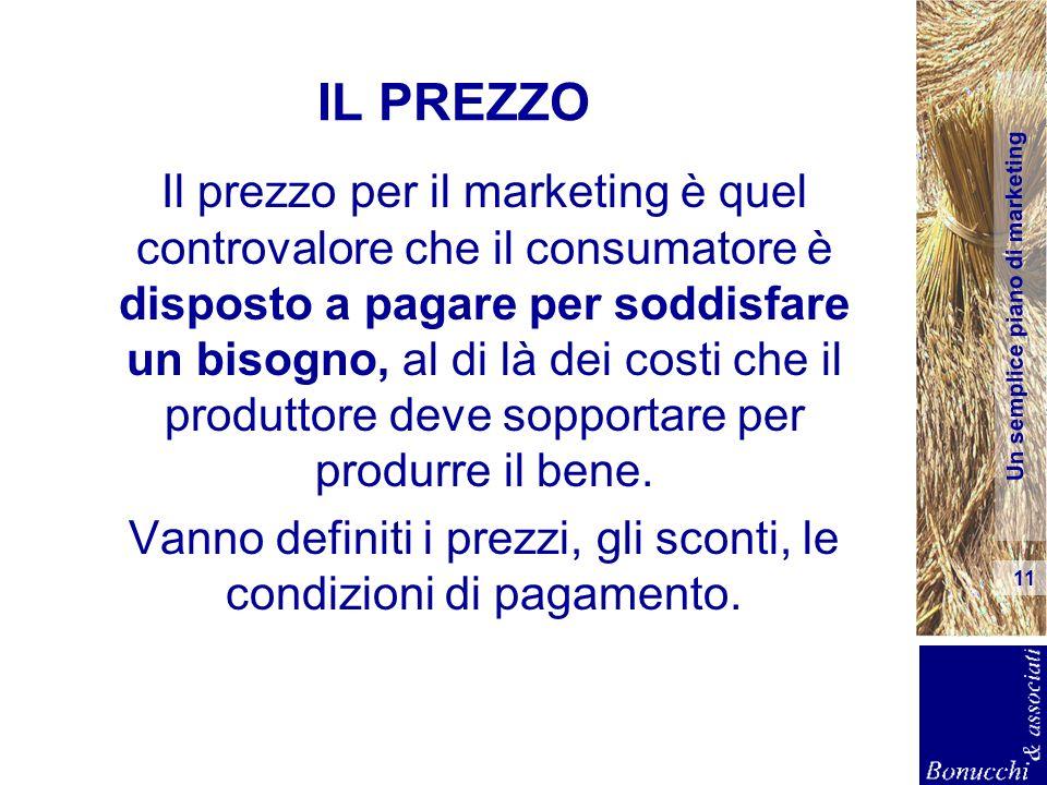 Un semplice piano di marketing 11 IL PREZZO Il prezzo per il marketing è quel controvalore che il consumatore è disposto a pagare per soddisfare un bi