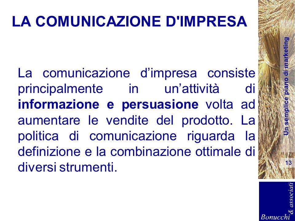 Un semplice piano di marketing 13 LA COMUNICAZIONE D'IMPRESA La comunicazione dimpresa consiste principalmente in unattività di informazione e persuas
