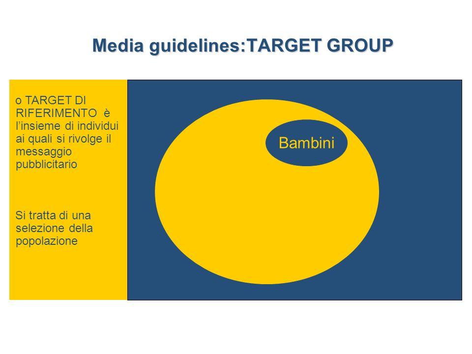 o TARGET DI RIFERIMENTO è linsieme di individui ai quali si rivolge il messaggio pubblicitario Si tratta di una selezione della popolazione Bambini Media guidelines:TARGET GROUP