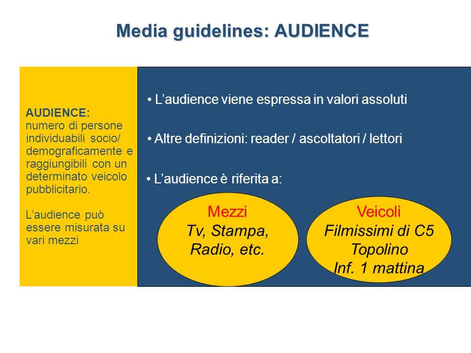 AUDIENCE: numero di persone individuabili socio/ demograficamente e raggiungibili con un determinato veicolo pubblicitario.