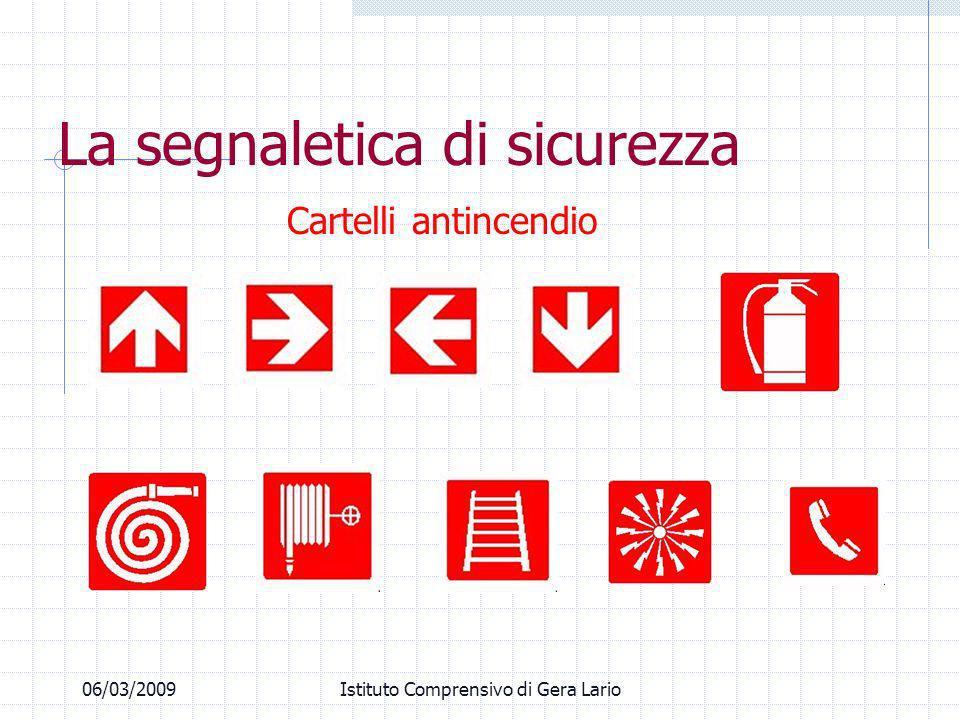 06/03/2009Istituto Comprensivo di Gera Lario Cartelli antincendio La segnaletica di sicurezza