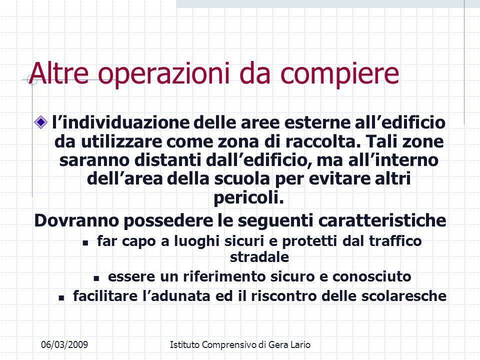 06/03/2009Istituto Comprensivo di Gera Lario Altre operazioni da compiere lindividuazione delle aree esterne alledificio da utilizzare come zona di ra