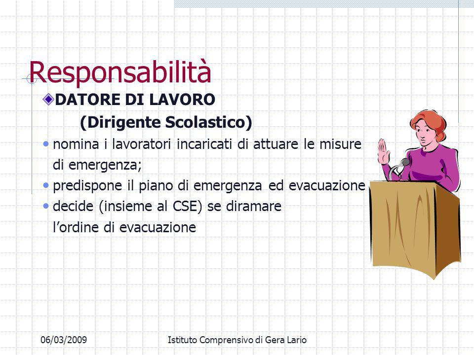 06/03/2009Istituto Comprensivo di Gera Lario Responsabilità DATORE DI LAVORO (Dirigente Scolastico) nomina i lavoratori incaricati di attuare le misur