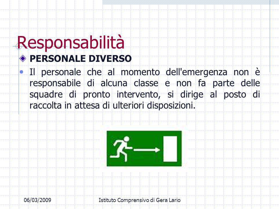 Responsabilità PERSONALE DIVERSO Il personale che al momento dell'emergenza non è responsabile di alcuna classe e non fa parte delle squadre di pronto