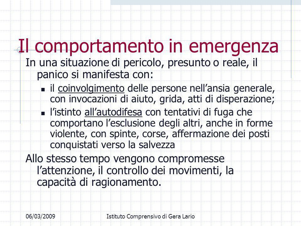 06/03/2009Istituto Comprensivo di Gera Lario Il comportamento in emergenza In una situazione di pericolo, presunto o reale, il panico si manifesta con