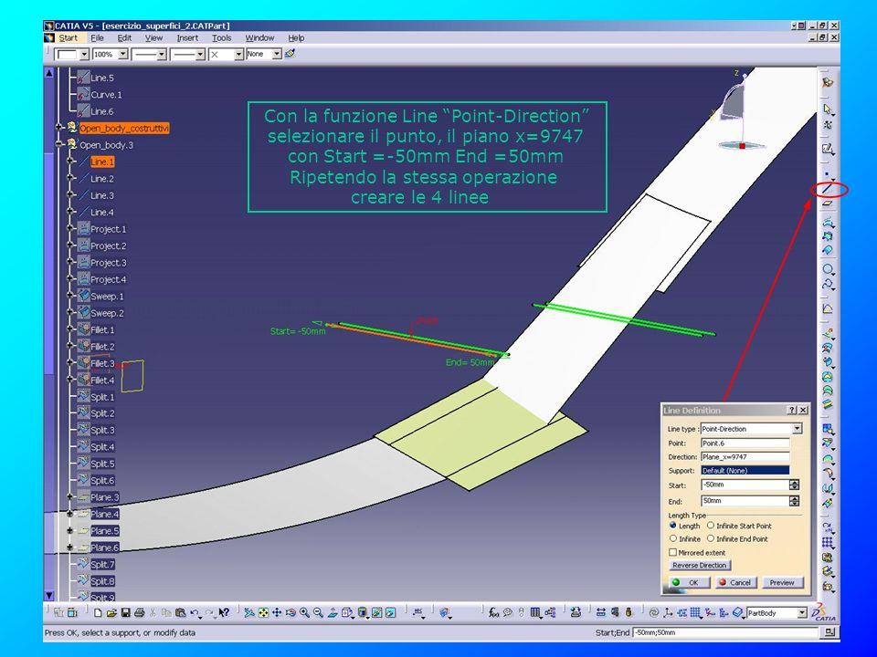 Con la funzione Line Point-Direction selezionare il punto, il piano x=9747 con Start =-50mm End =50mm Ripetendo la stessa operazione creare le 4 linee