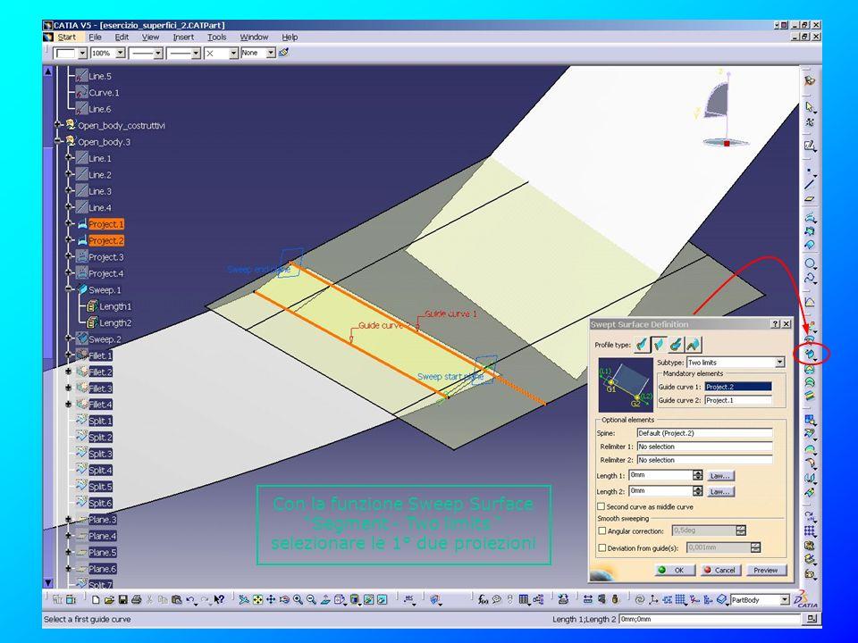 Con la funzione Sweep Surface Segment - Two limits selezionare le 1° due proiezioni