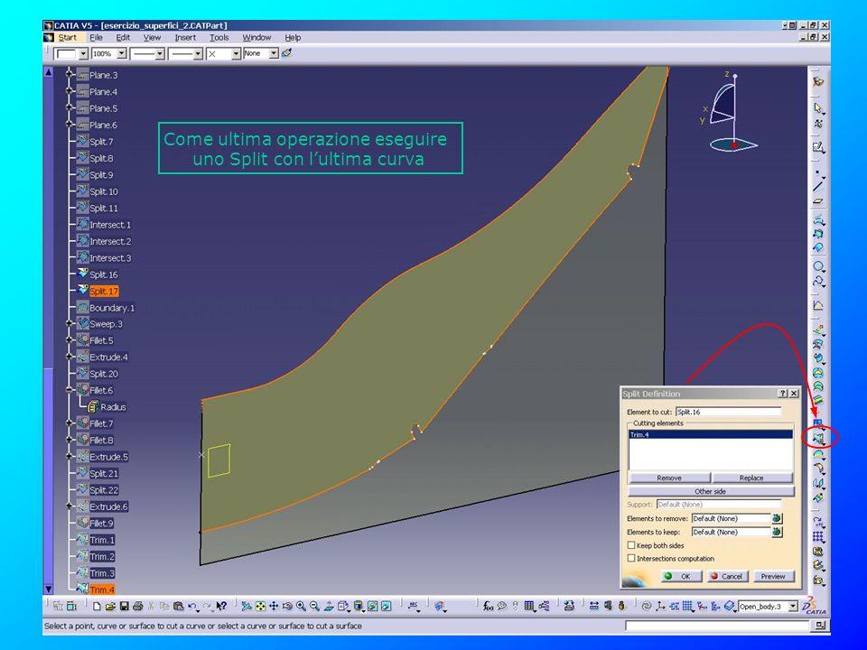 Come ultima operazione eseguire uno Split con lultima curva