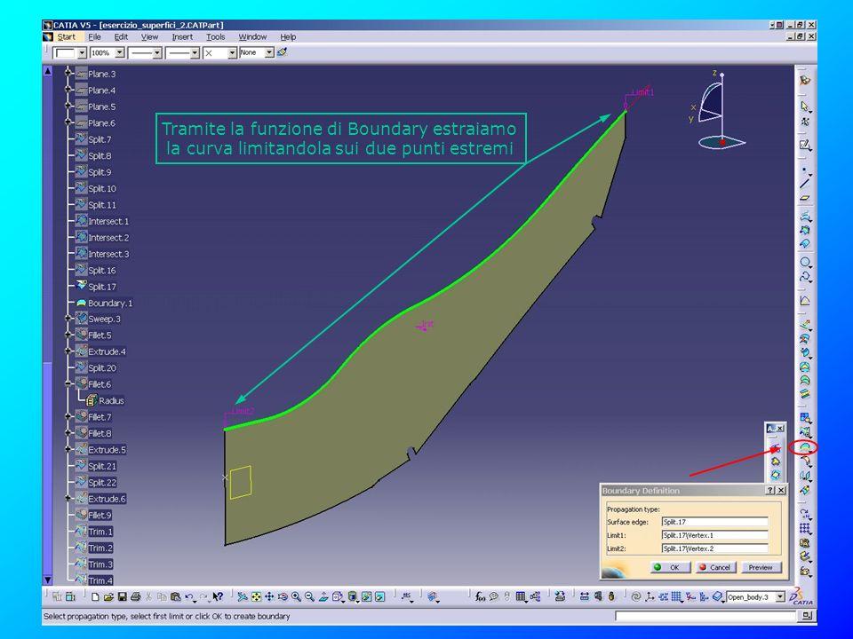 Tramite la funzione di Boundary estraiamo la curva limitandola sui due punti estremi