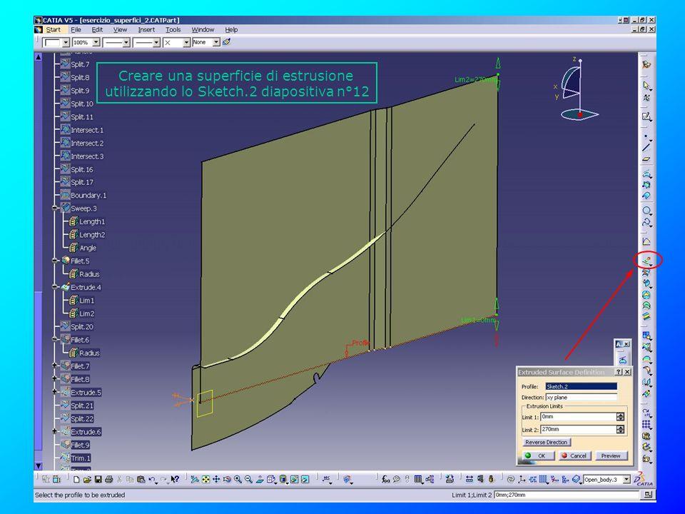 Creare una superficie di estrusione utilizzando lo Sketch.2 diapositiva n°12