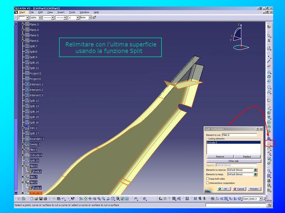 Relimitare con lultima superficie usando la funzione Split