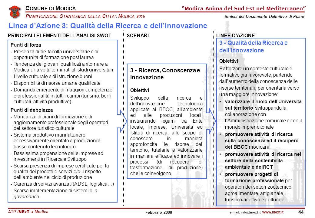 ATP i NE x T x Modica C OMUNE DI M ODICA P IANIFICAZIONE S TRATEGICA DELLA C ITTA: M ODICA 2015 Sintesi del Documento Definitivo di Piano e-mail: info